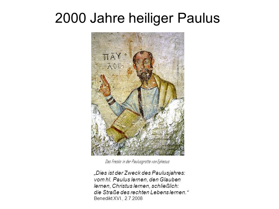 """2000 Jahre heiliger Paulus """"Dies ist der Zweck des Paulusjahres:"""