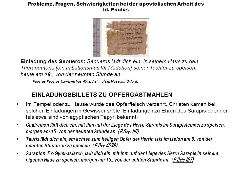 EINLADUNGSBILLETS ZU OPFERGASTMAHLEN