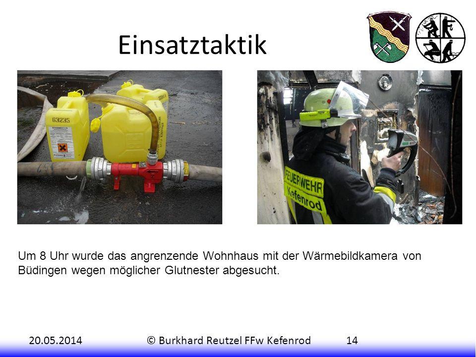 Einsatztaktik Um 8 Uhr wurde das angrenzende Wohnhaus mit der Wärmebildkamera von Büdingen wegen möglicher Glutnester abgesucht.