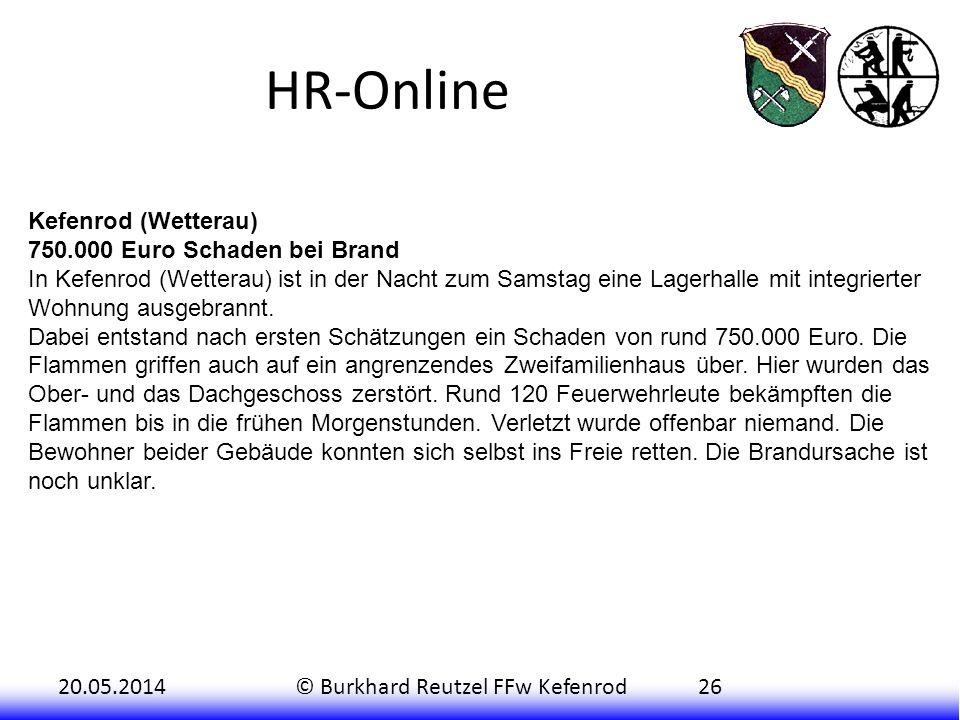 HR-Online Kefenrod (Wetterau) 750.000 Euro Schaden bei Brand