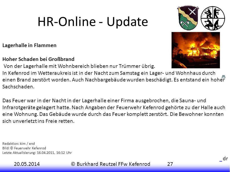 HR-Online - Update Lagerhalle in Flammen Hoher Schaden bei Großbrand