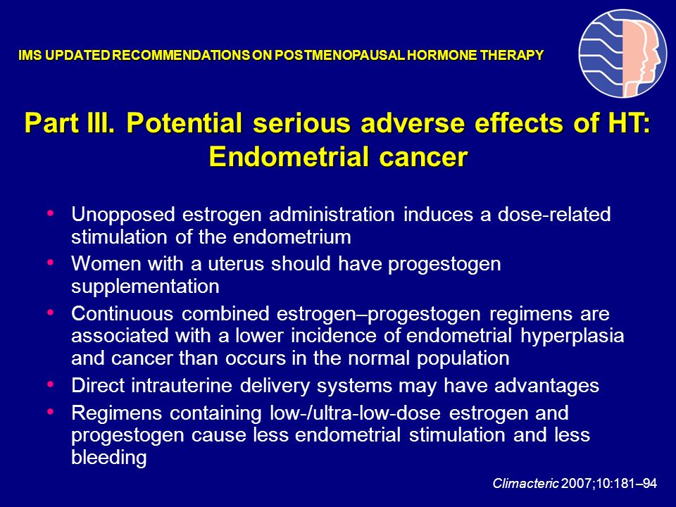 Part III. Potential serious adverse effects of HT: Endometrial cancer