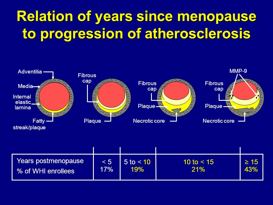 Relation of years since menopause to progression of atherosclerosis