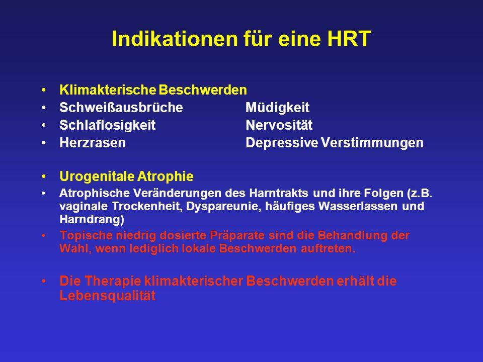 Indikationen für eine HRT