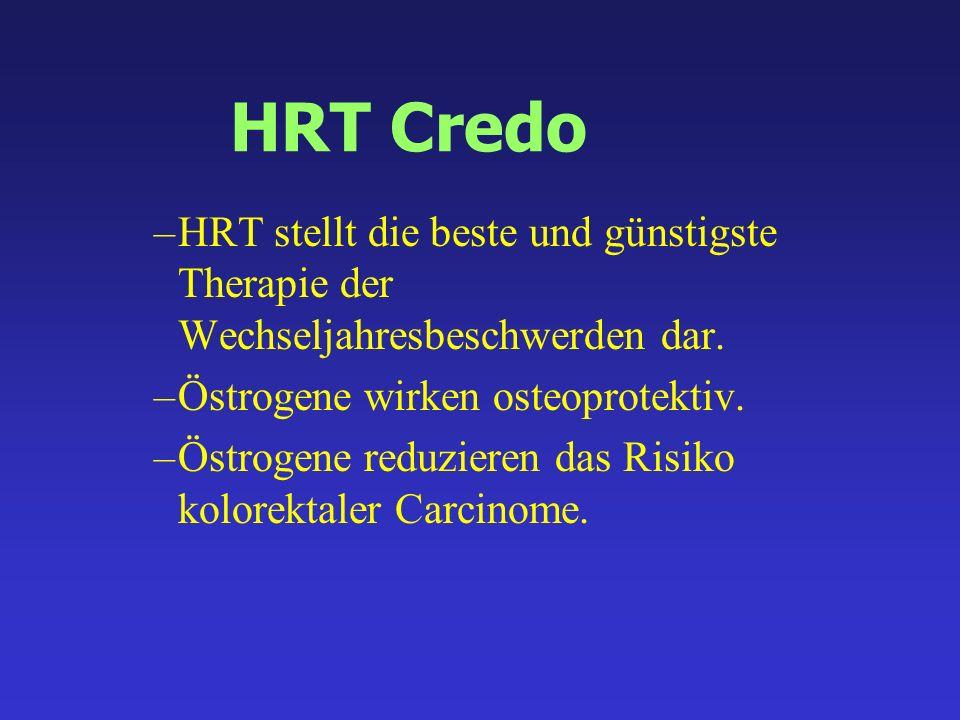 HRT Credo HRT stellt die beste und günstigste Therapie der Wechseljahresbeschwerden dar. Östrogene wirken osteoprotektiv.