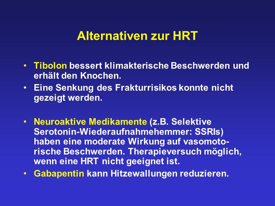 Alternativen zur HRT Tibolon bessert klimakterische Beschwerden und erhält den Knochen. Eine Senkung des Frakturrisikos konnte nicht gezeigt werden.