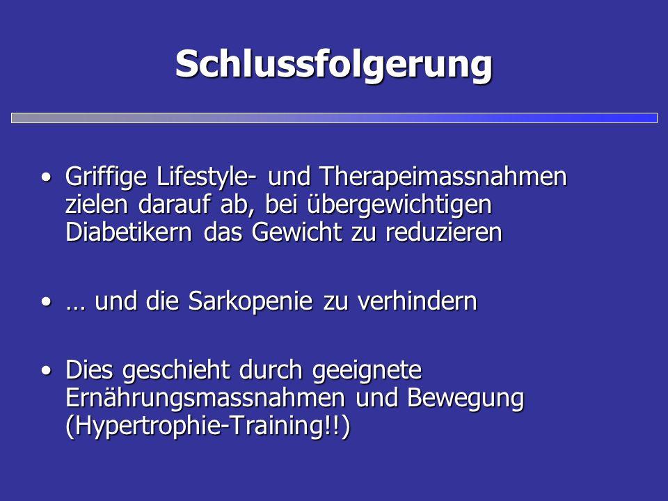 Schlussfolgerung Griffige Lifestyle- und Therapeimassnahmen zielen darauf ab, bei übergewichtigen Diabetikern das Gewicht zu reduzieren.