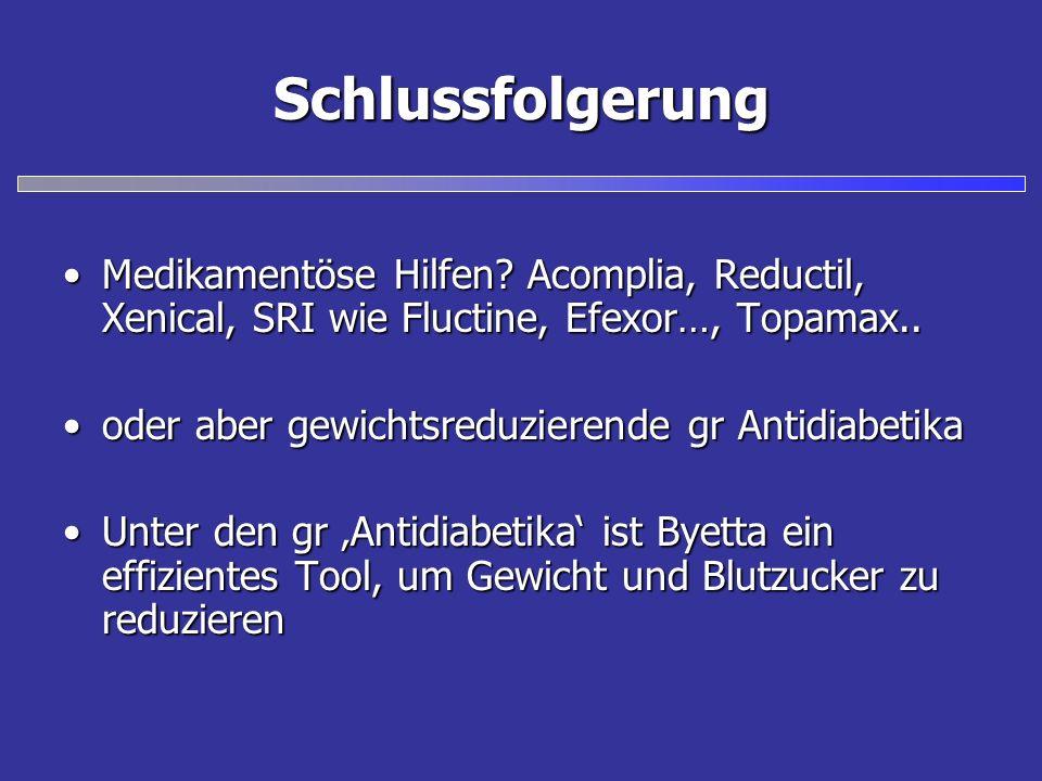 Schlussfolgerung Medikamentöse Hilfen Acomplia, Reductil, Xenical, SRI wie Fluctine, Efexor…, Topamax..