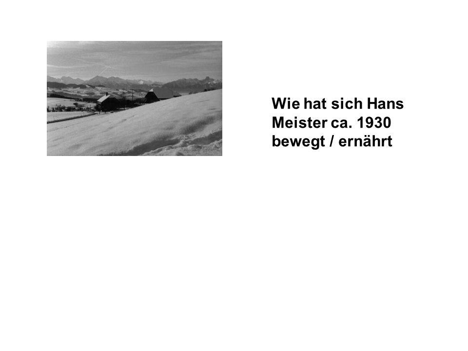 Wie hat sich Hans Meister ca. 1930 bewegt / ernährt