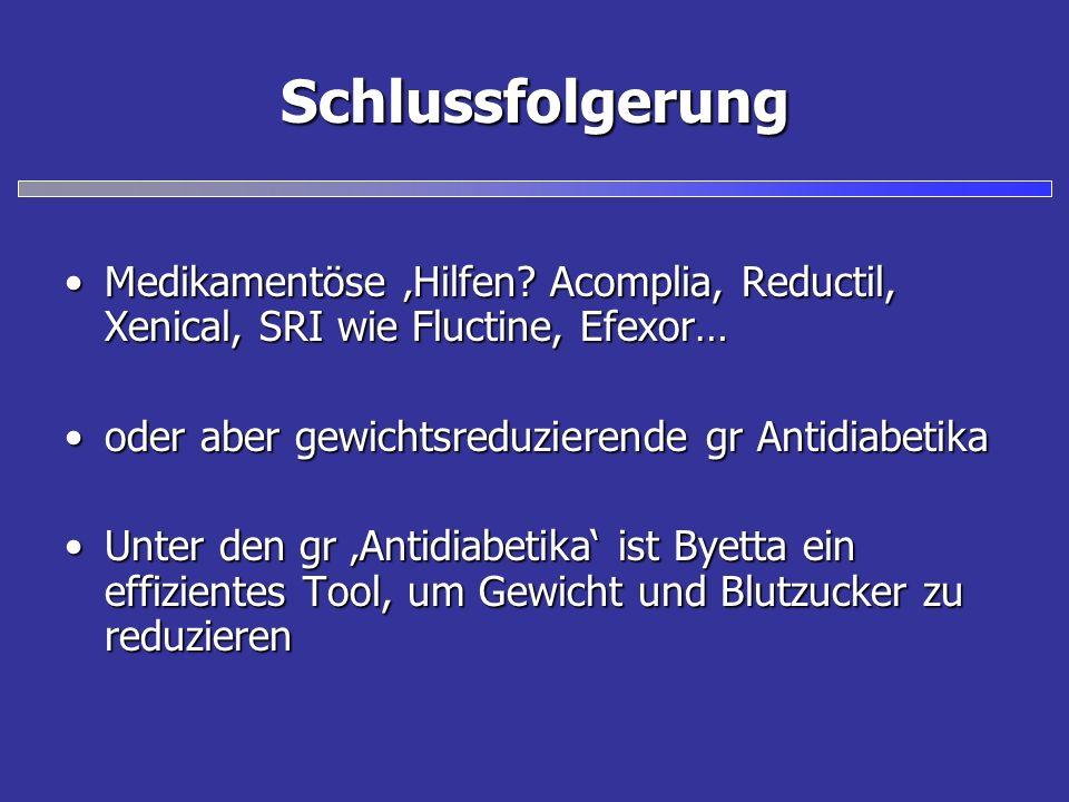 Schlussfolgerung Medikamentöse 'Hilfen Acomplia, Reductil, Xenical, SRI wie Fluctine, Efexor… oder aber gewichtsreduzierende gr Antidiabetika.