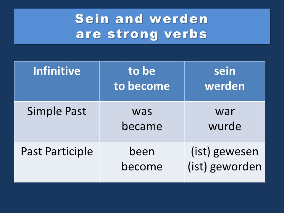 Sein and werden are strong verbs