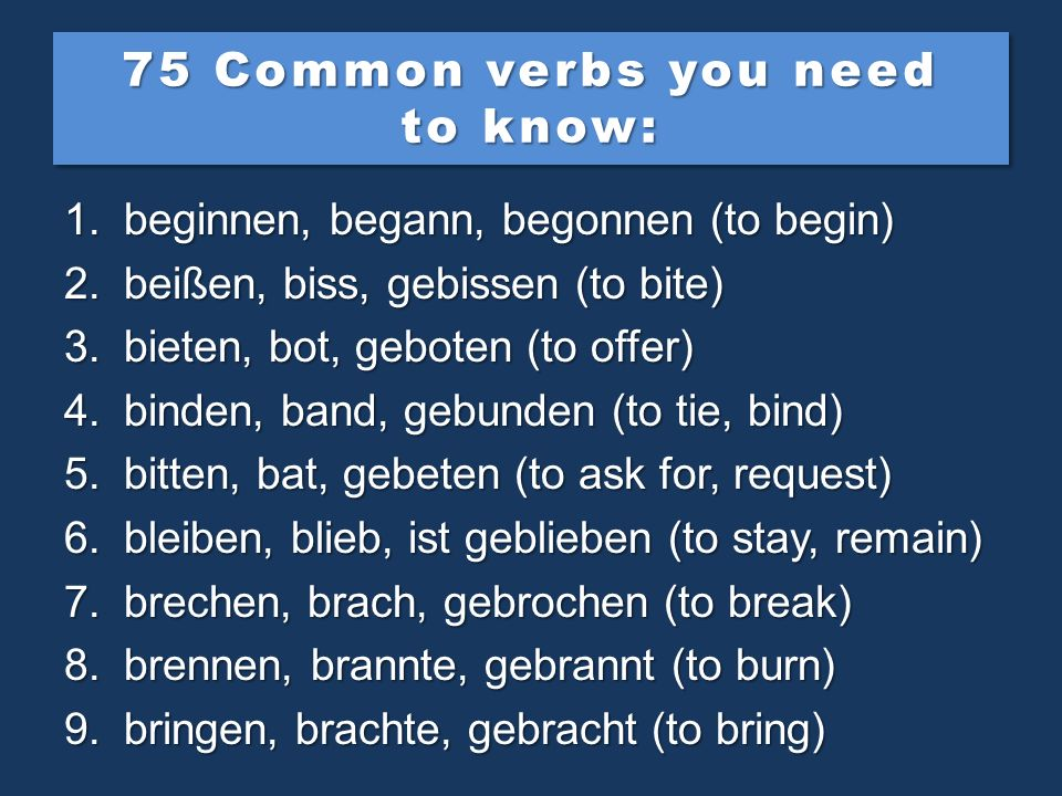 75 Common verbs you need to know: