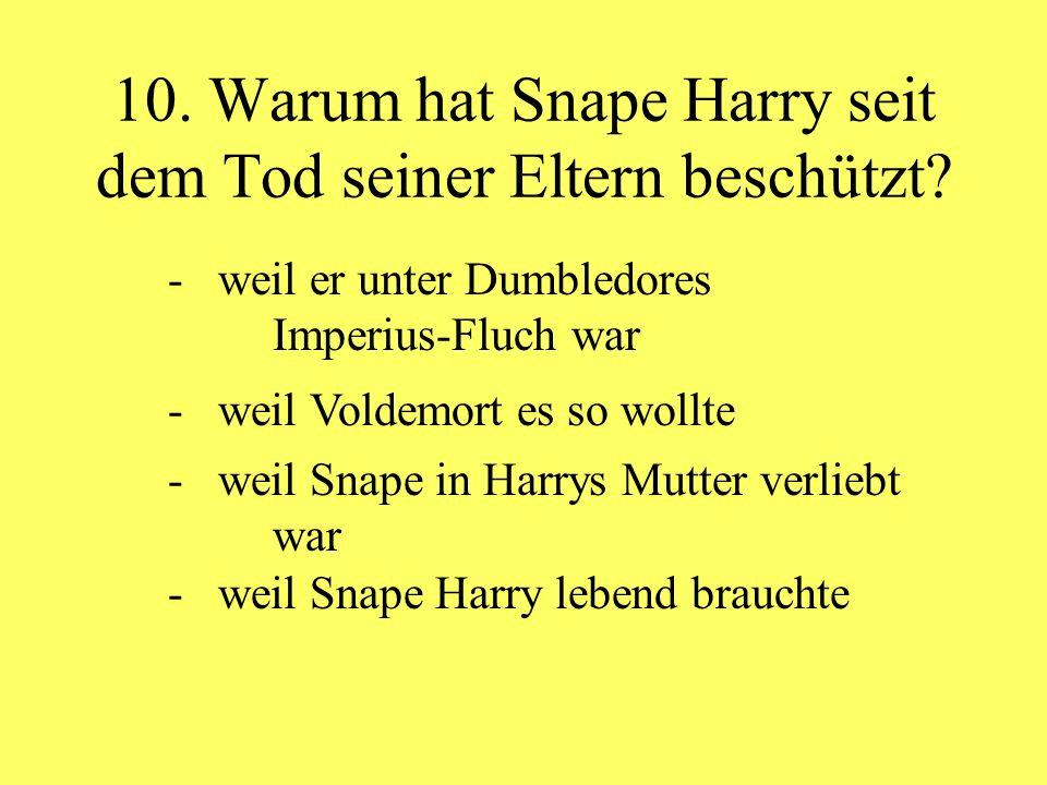 10. Warum hat Snape Harry seit dem Tod seiner Eltern beschützt