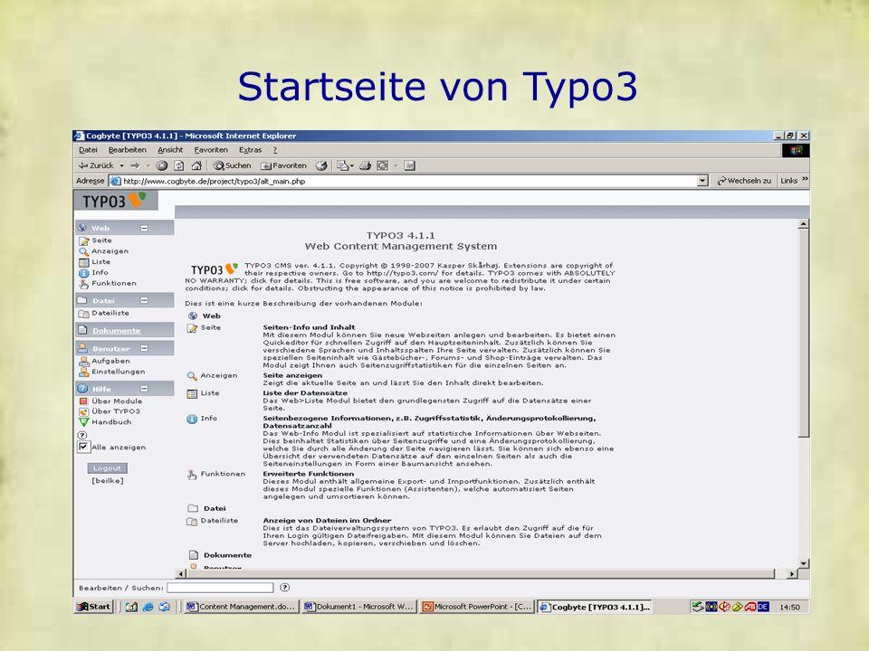 Startseite von Typo3 Startseite von Typo3