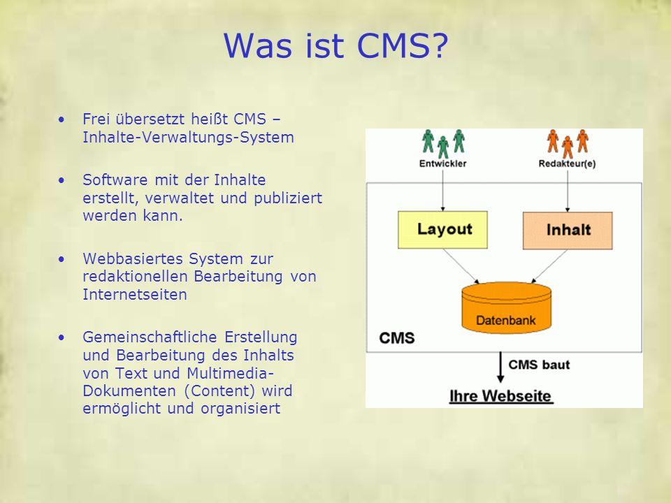 Was ist CMS Frei übersetzt heißt CMS – Inhalte-Verwaltungs-System