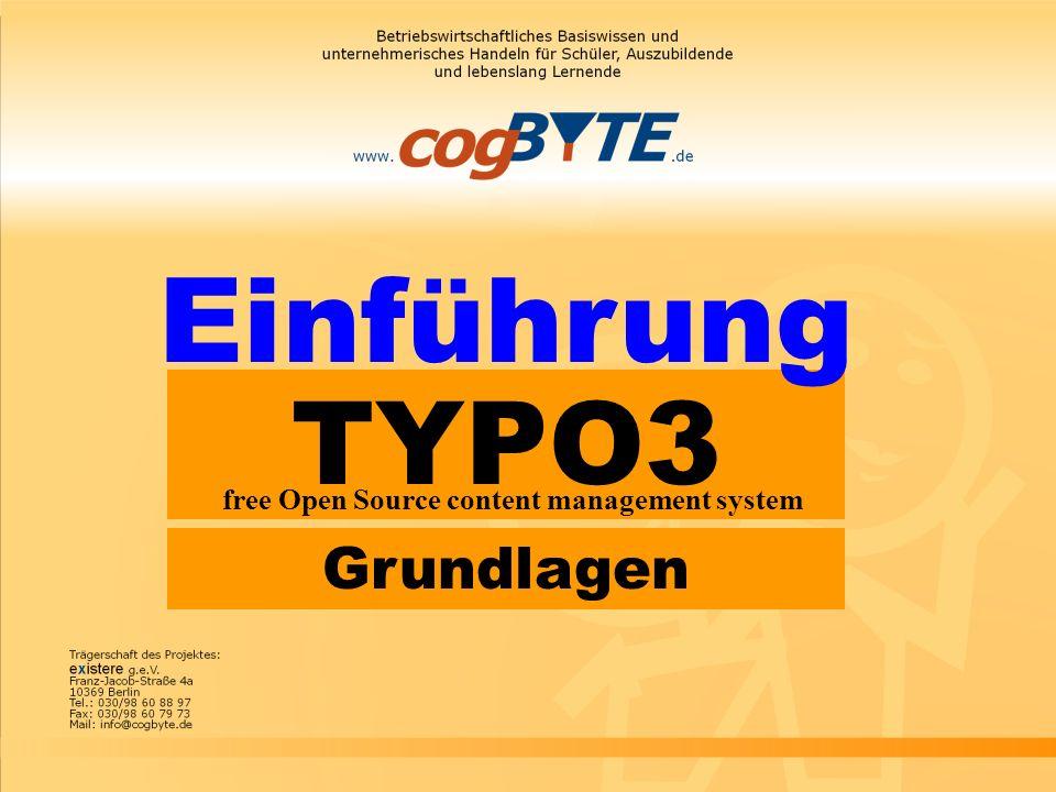 Einführung TYPO3 free Open Source content management system Grundlagen