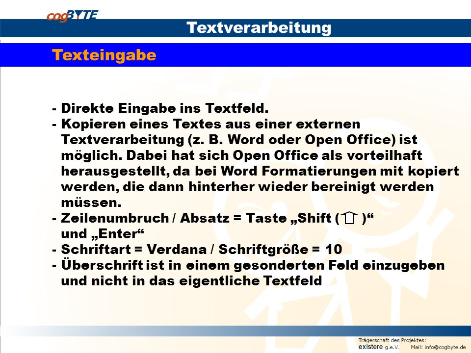 Textverarbeitung Texteingabe