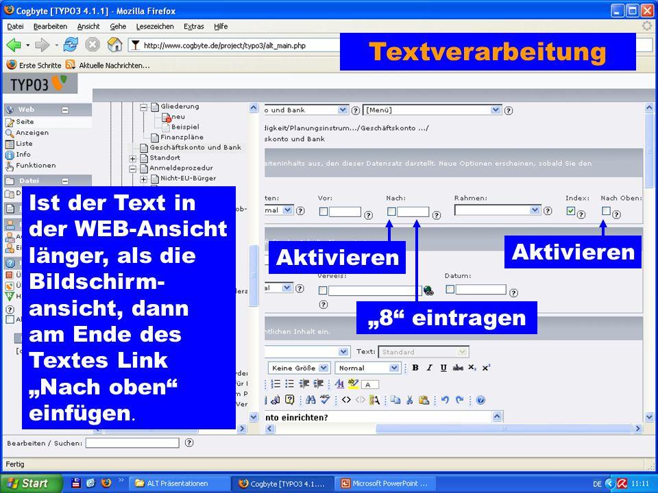 """Textverarbeitung Ist der Text in der WEB-Ansicht länger, als die Bildschirm- ansicht, dann am Ende des Textes Link """"Nach oben einfügen."""