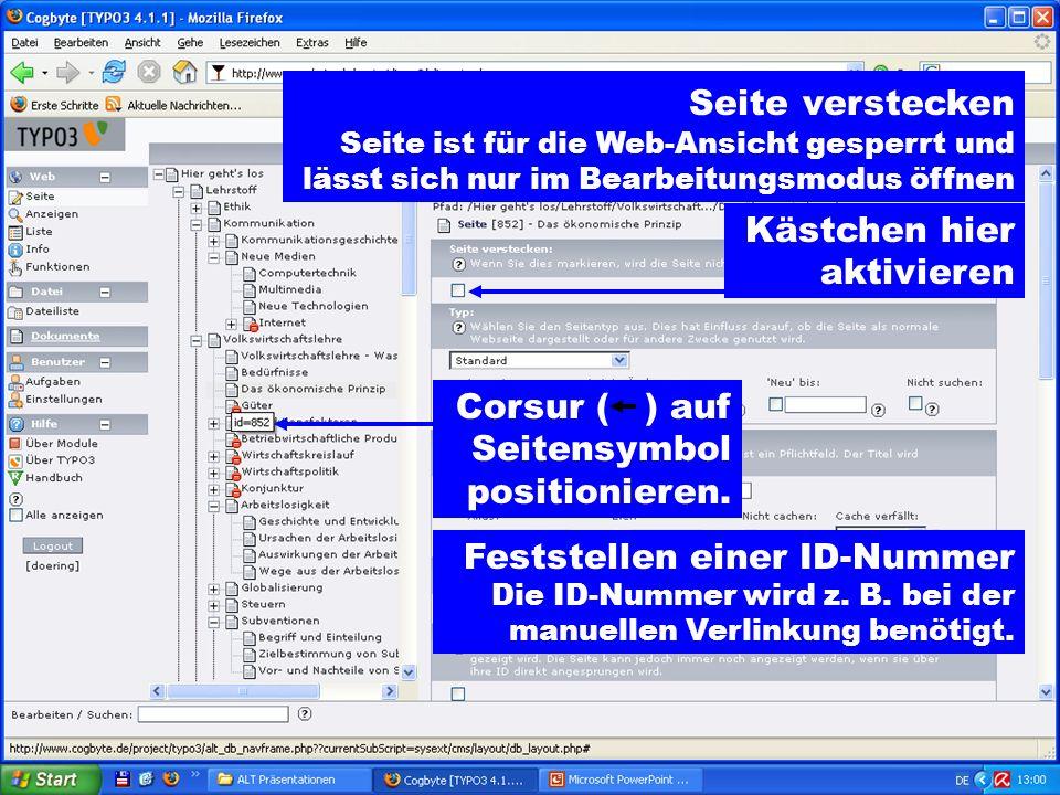 Seite verstecken Seite ist für die Web-Ansicht gesperrt und lässt sich nur im Bearbeitungsmodus öffnen