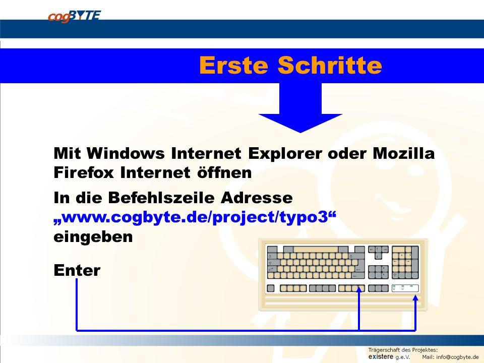 Erste Schritte Mit Windows Internet Explorer oder Mozilla Firefox Internet öffnen.