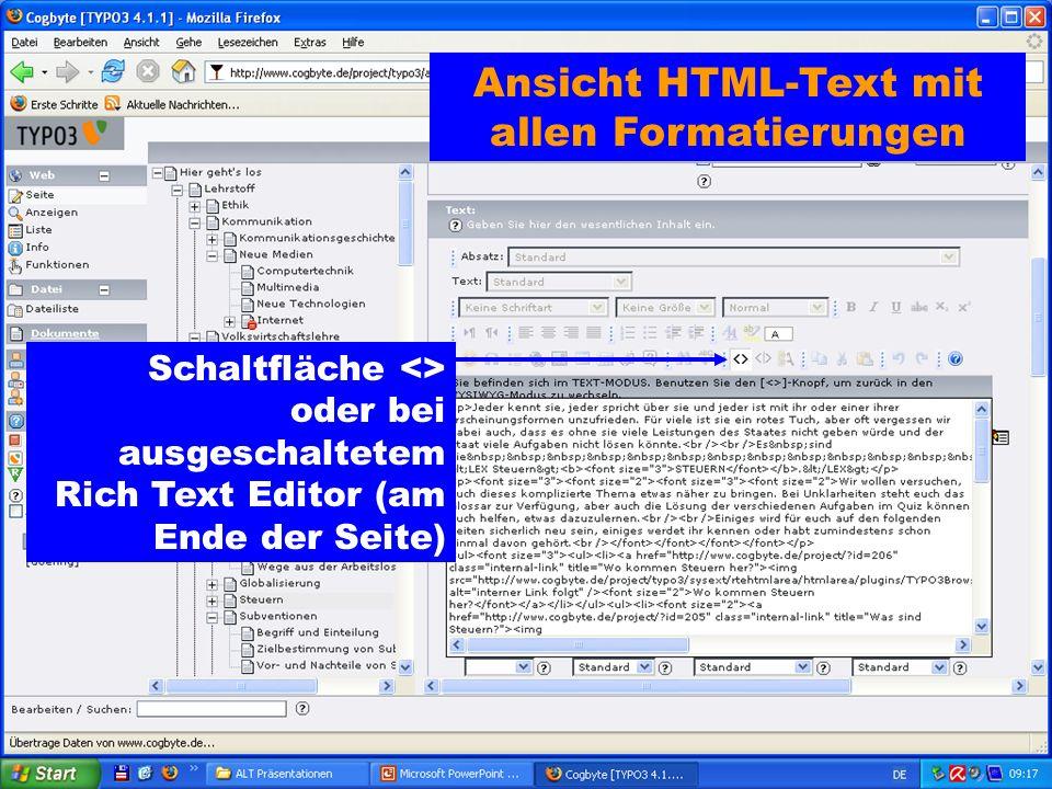 Ansicht HTML-Text mit allen Formatierungen