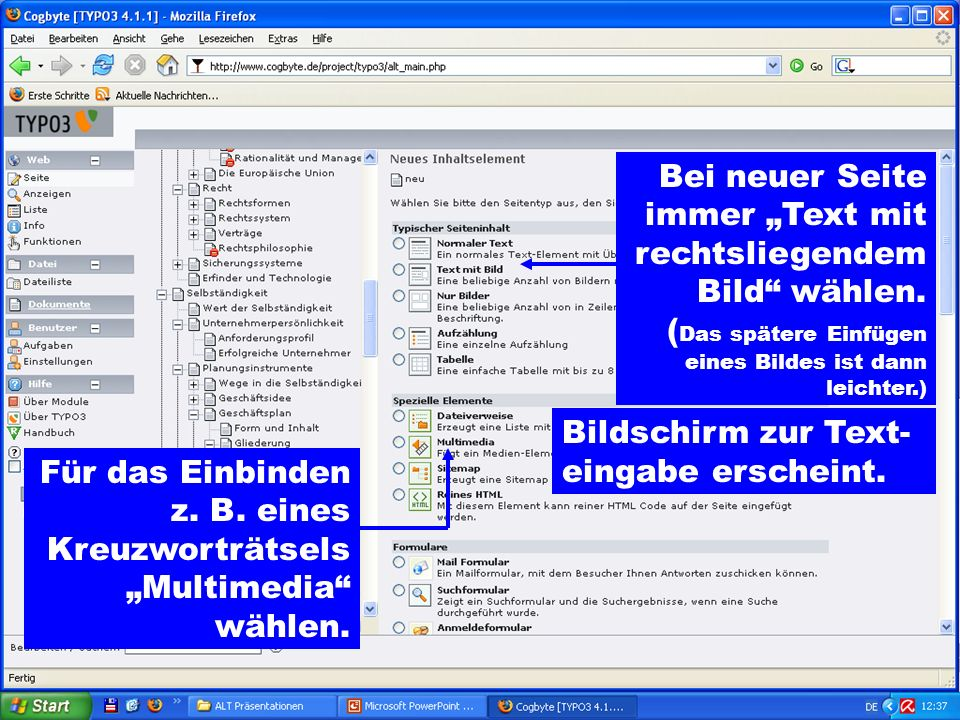 """Bei neuer Seite immer """"Text mit rechtsliegendem Bild wählen"""