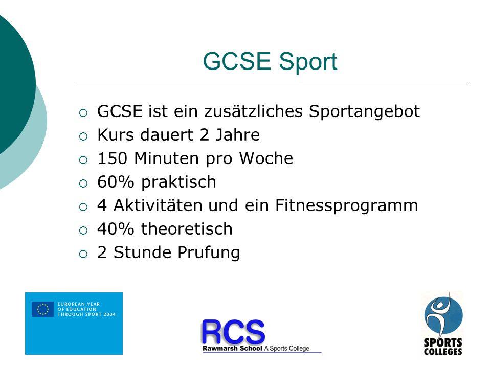 GCSE Sport GCSE ist ein zusätzliches Sportangebot Kurs dauert 2 Jahre