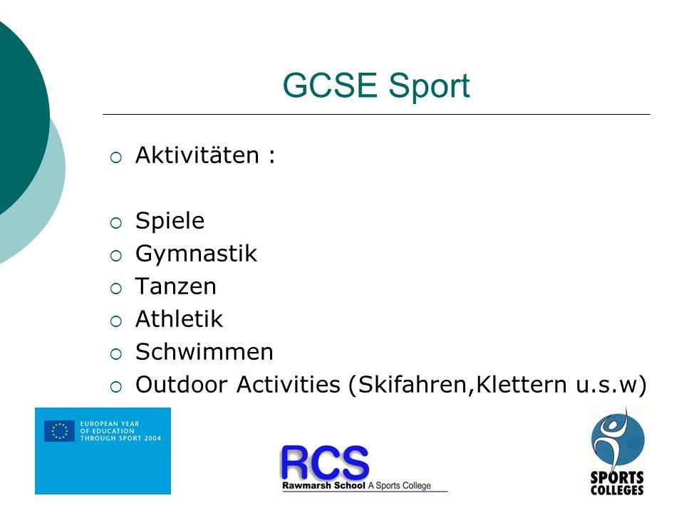 GCSE Sport Aktivitäten : Spiele Gymnastik Tanzen Athletik Schwimmen
