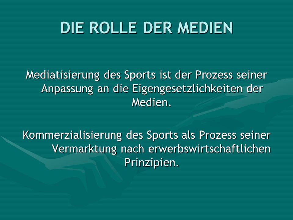 DIE ROLLE DER MEDIEN Mediatisierung des Sports ist der Prozess seiner Anpassung an die Eigengesetzlichkeiten der Medien.