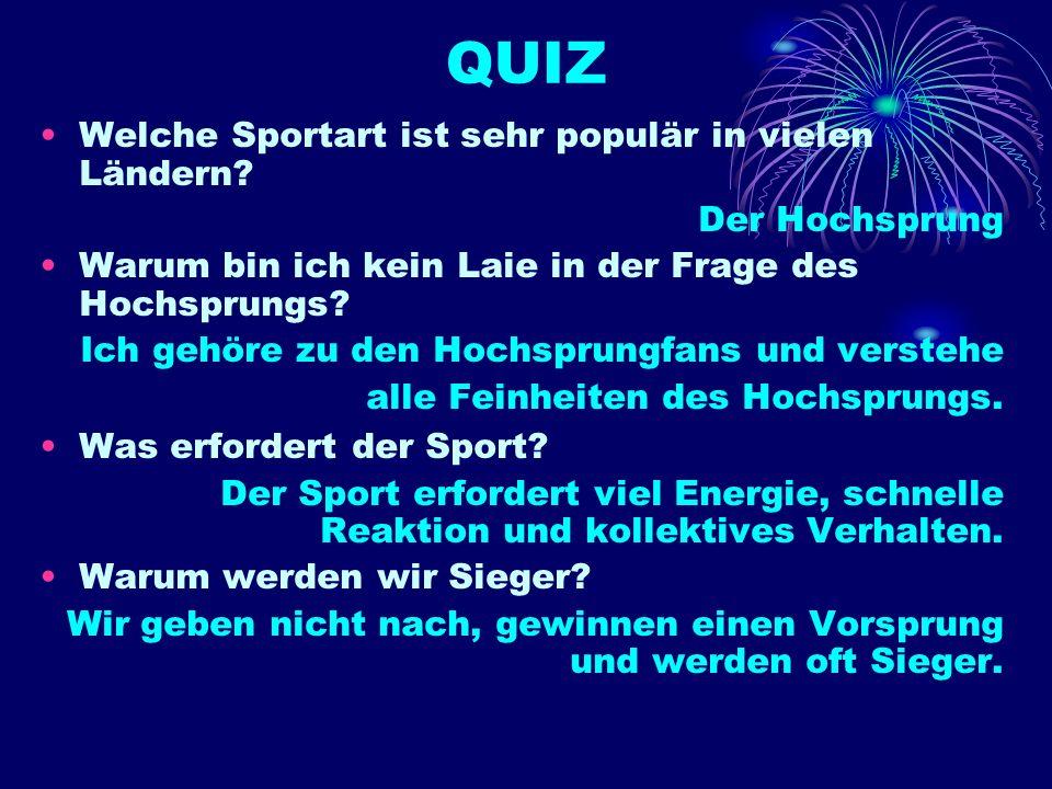 QUIZ Welche Sportart ist sehr populär in vielen Ländern