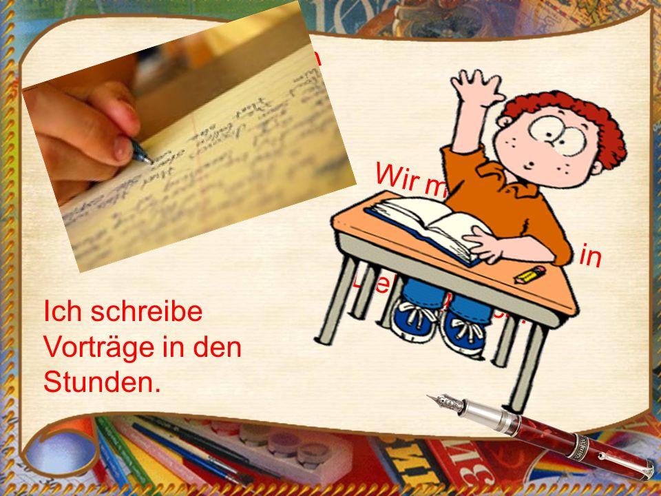 Die Schüler schreiben gute Aufsätze in Deutsch.