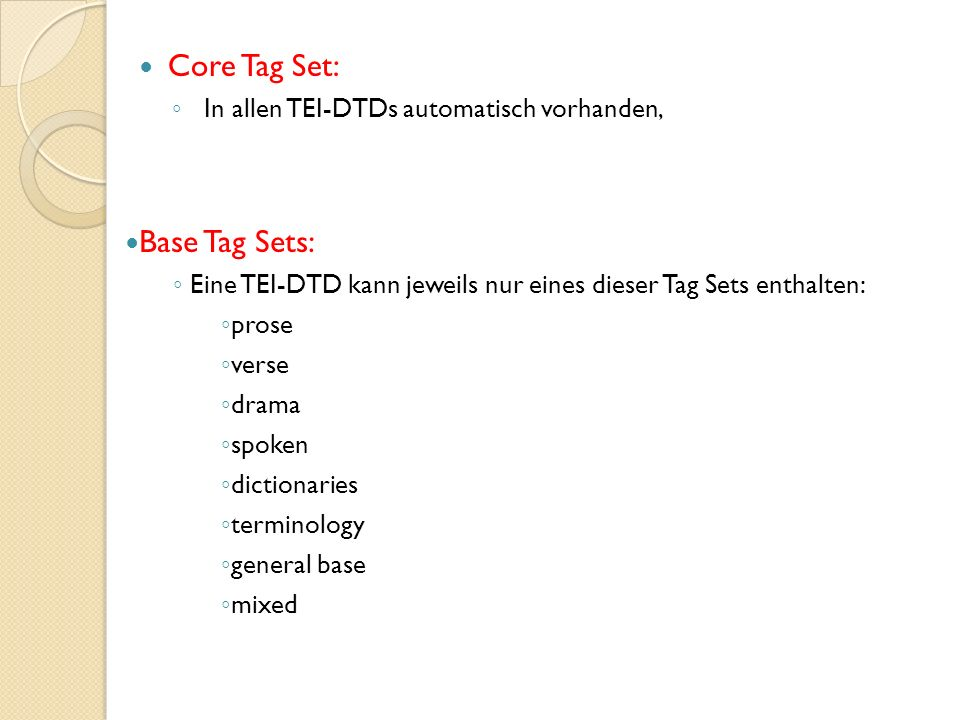 Core Tag Set: Base Tag Sets: In allen TEI-DTDs automatisch vorhanden,