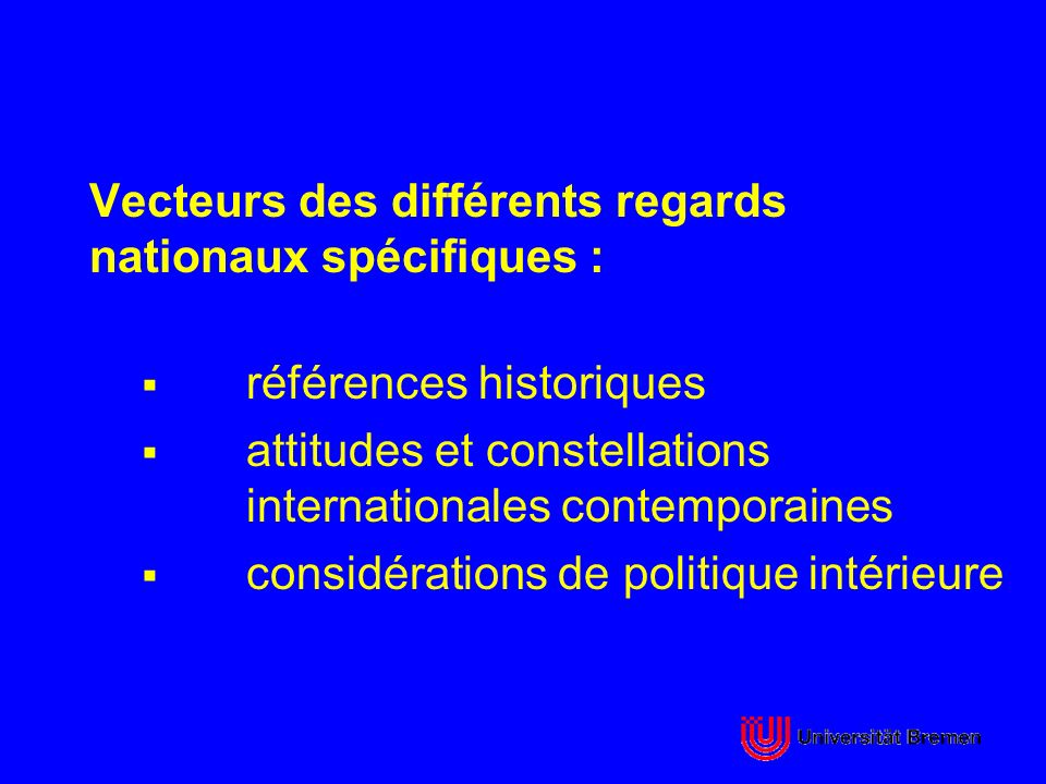 Vecteurs des différents regards nationaux spécifiques :