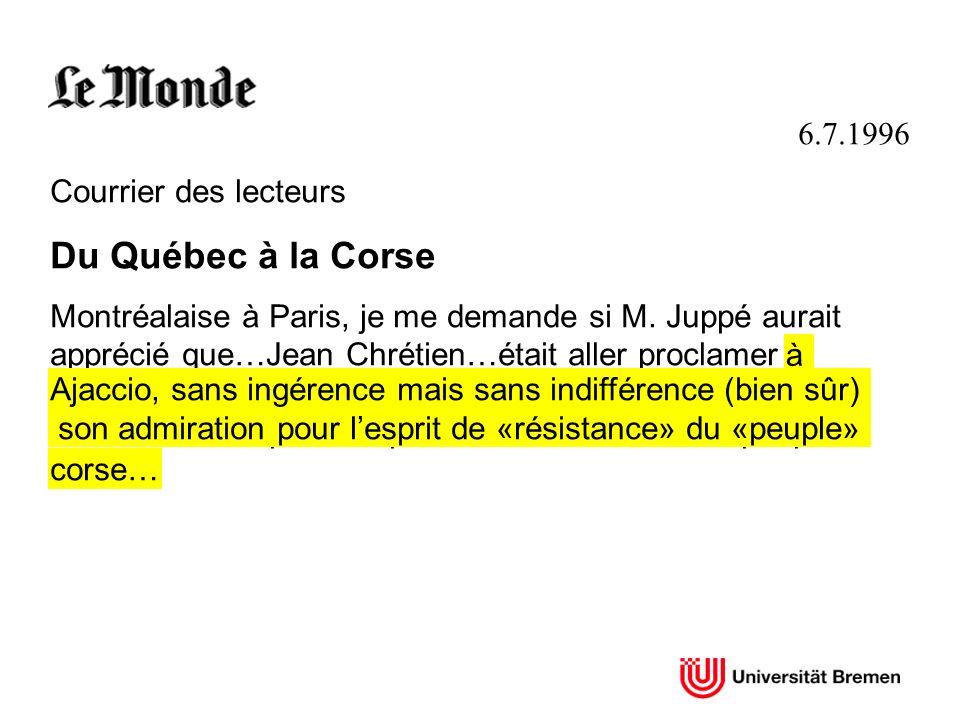 Du Québec à la Corse 6.7.1996 Courrier des lecteurs