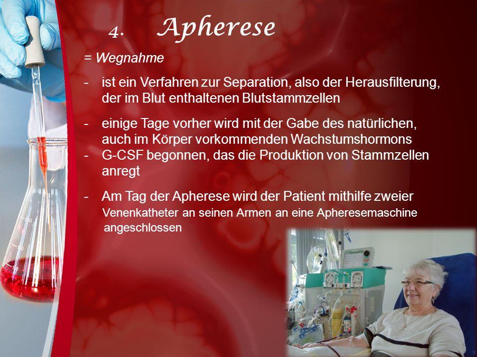 4. Apherese = Wegnahme. ist ein Verfahren zur Separation, also der Herausfilterung, der im Blut enthaltenen Blutstammzellen.