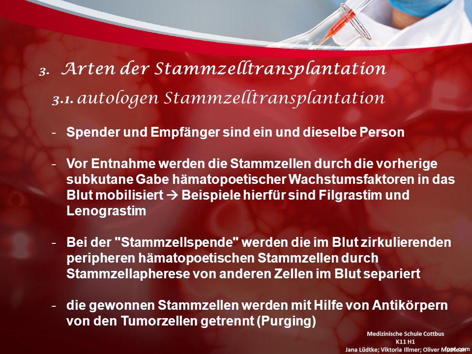 3. Arten der Stammzelltransplantation