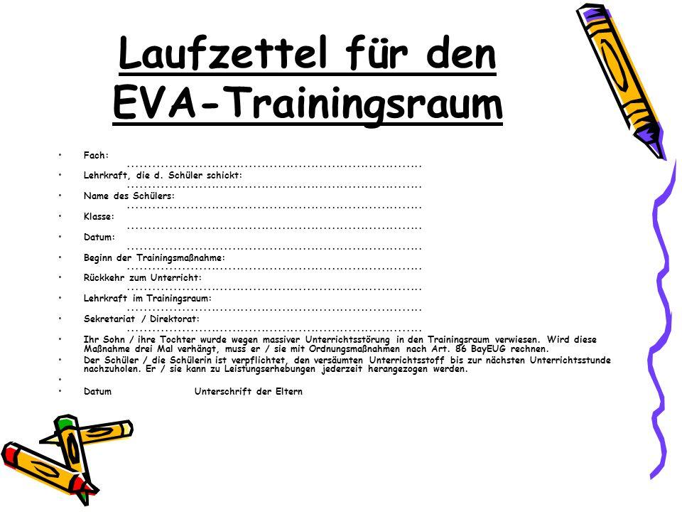 Laufzettel für den EVA-Trainingsraum