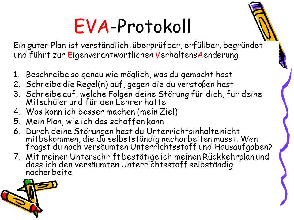 EVA-Protokoll Ein guter Plan ist verständlich, überprüfbar, erfüllbar, begründet. und führt zur Eigenverantwortlichen VerhaltensAenderung.