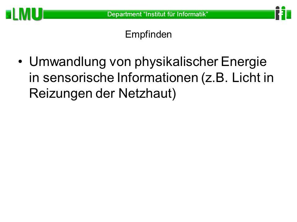 Empfinden Umwandlung von physikalischer Energie in sensorische Informationen (z.B.