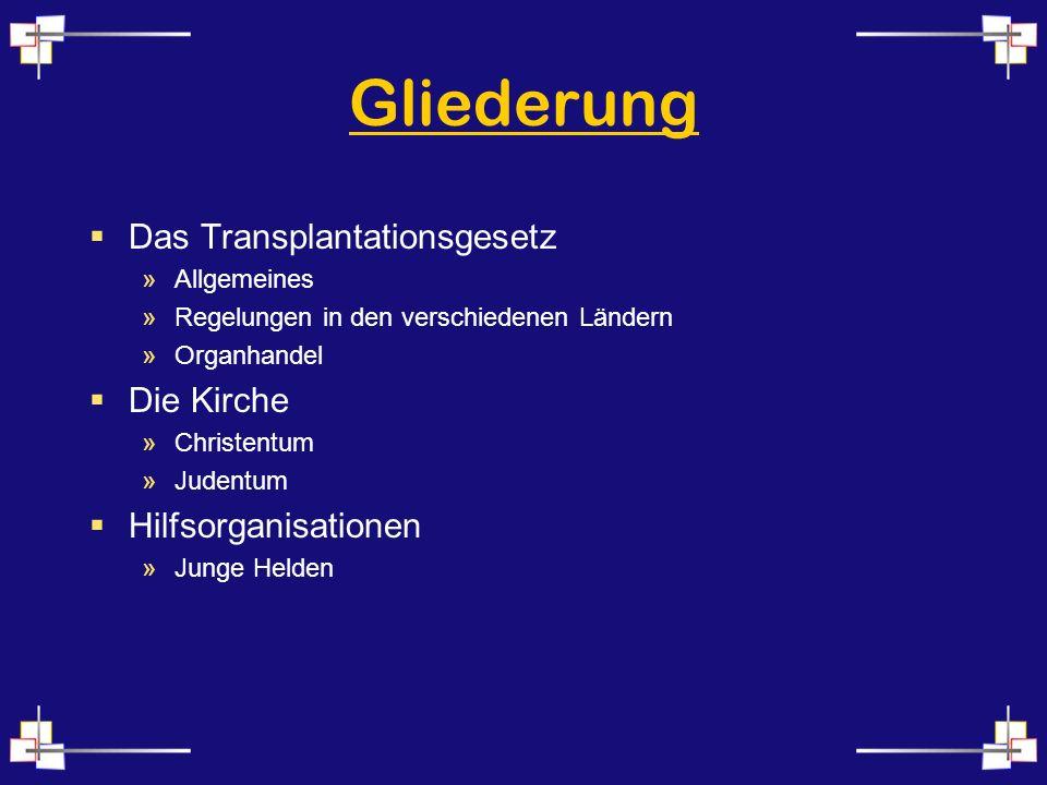 Gliederung Das Transplantationsgesetz Die Kirche Hilfsorganisationen