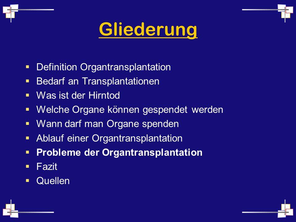 Gliederung Definition Organtransplantation Bedarf an Transplantationen