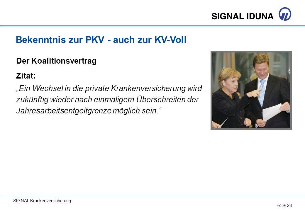 Bekenntnis zur PKV - auch zur KV-Voll