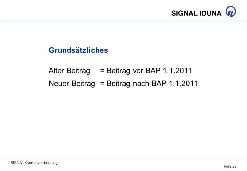 Grundsätzliches Alter Beitrag = Beitrag vor BAP 1.1.2011.