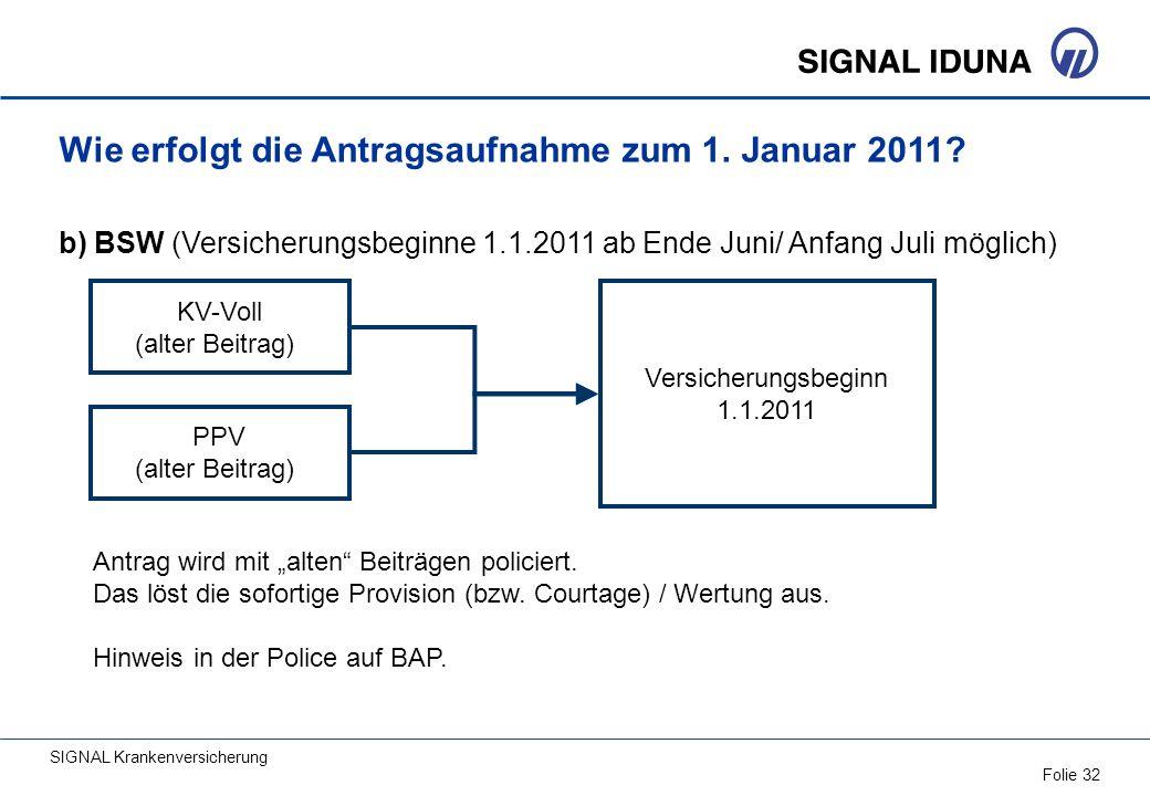 Wie erfolgt die Antragsaufnahme zum 1. Januar 2011