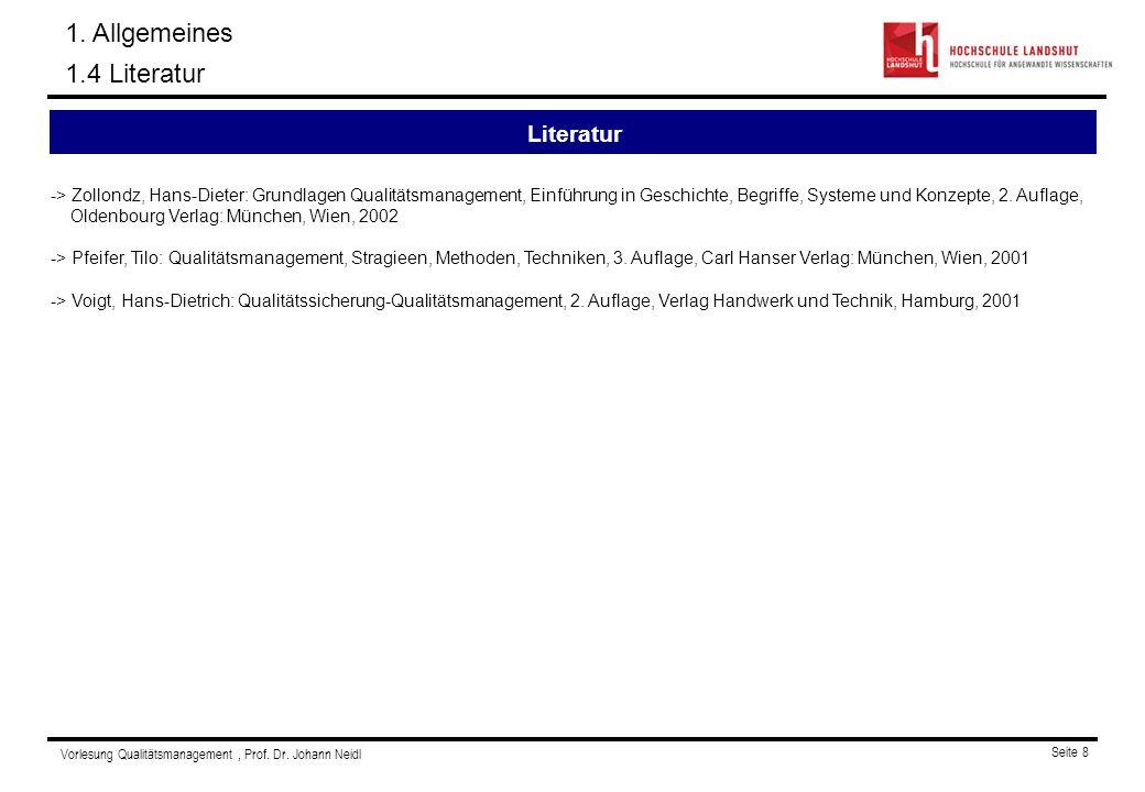 1. Allgemeines 1.4 Literatur Literatur