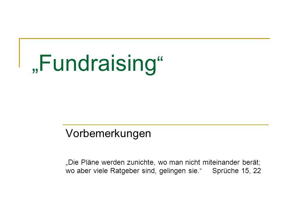 """Fundraising Vorbemerkungen"