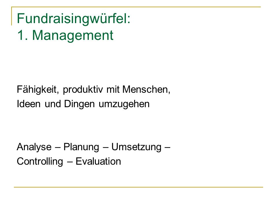 Fundraisingwürfel: 1. Management