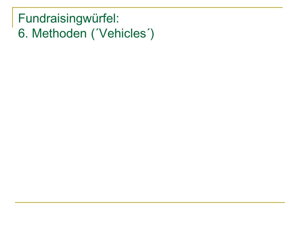 Fundraisingwürfel: 6. Methoden (´Vehicles´)