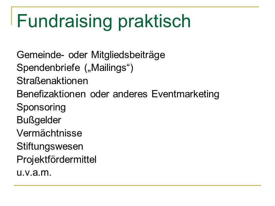 Fundraising praktisch