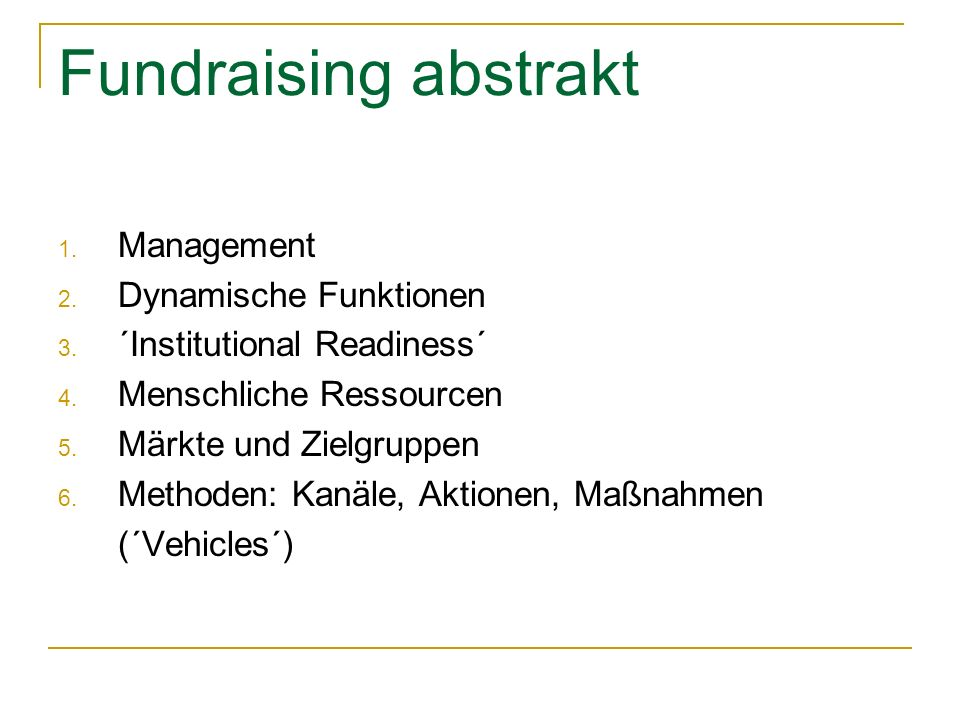 Fundraising abstrakt Management Dynamische Funktionen
